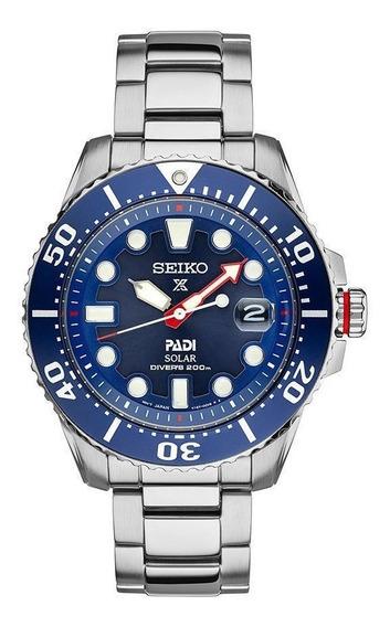 Relogio Seiko Solar Divers Padi Stainless Steel Blue Dial