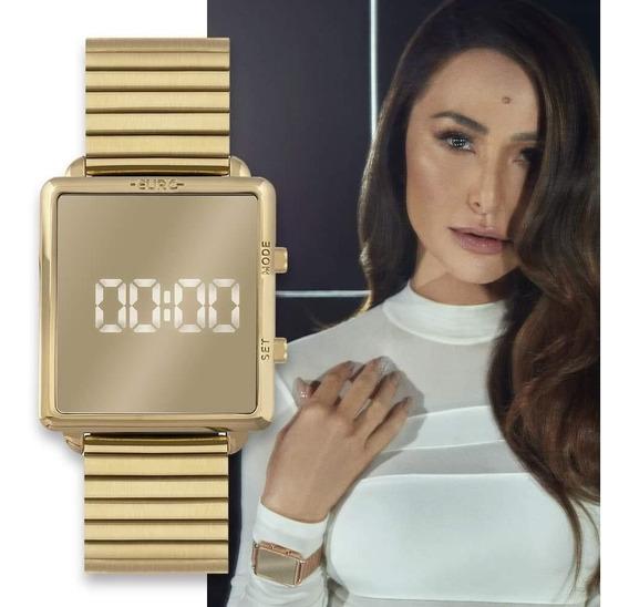 Relogio Euro Fashion Fit Reflexo Dourado Quadrado