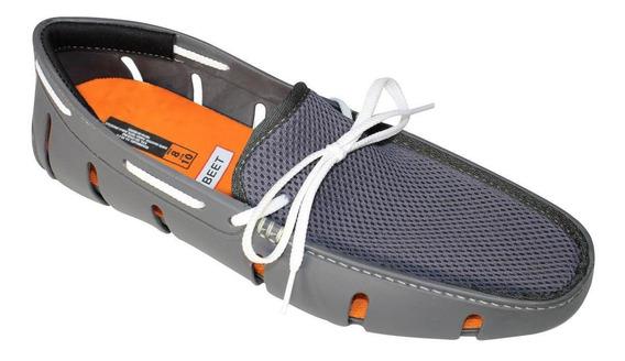 Zapatos Top Sider Para Playa Caballero 5002 Gris Blanco