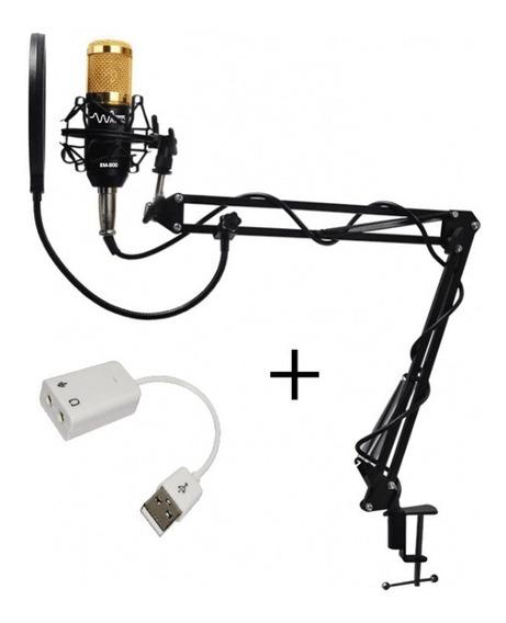 Microfone Estúdio Bm800 Plus+pop Filter+ Suporte Móvel Waver