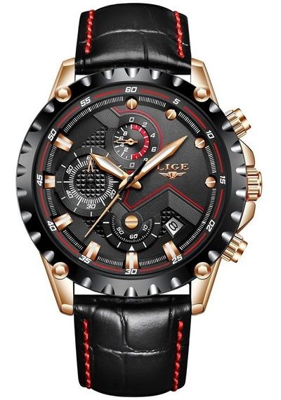 Relógio Lige Masculino Original Lg9821 Dourado