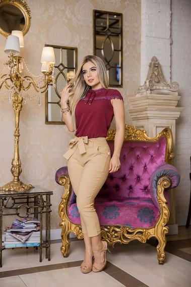 Calça Pantacourt Feminina Blogueira Cintura Alta