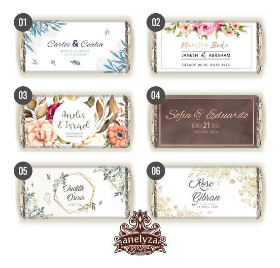 50 Chocolates Personalizados Para Recuerdo De Boda