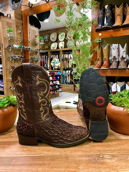 Bota Texana Country Masculina Bucho Boi Chocolate B/redondo