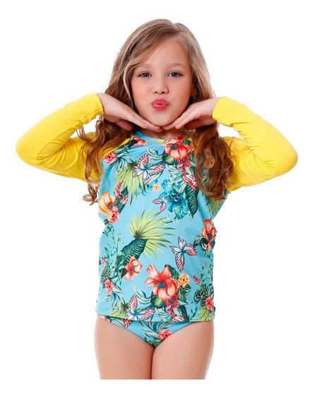 Conjunto Infantil De Blusa E Calcinha Flores Com Proteção Uv