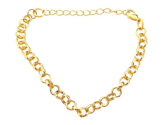 Pulseira Bracelete Feminino Elo Português Folheado A Ouro