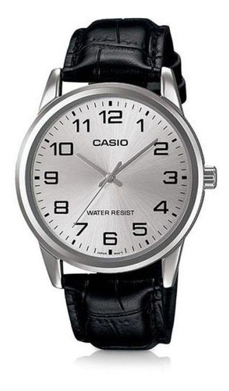 Relógio Casio Masculino Mtp-v001l-7budf Couro Preto