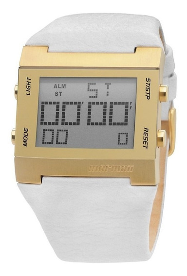 Relógio Mormaii Feminino Digital Couro Branco Y21461s/0b