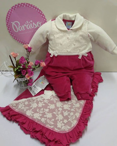Saida Maternidade Paraiso Plush Bebê Menina Macacao Cod 7971