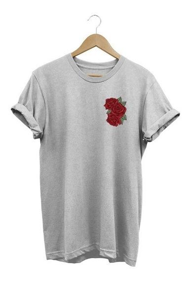 Camiseta Babylook Rose Feminina Rosa 2018 3 Flor Lançamento