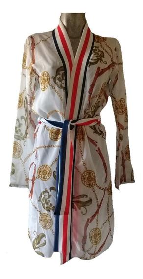 Coordinado Gasa Pantalón Ensamble Kimono Estampado