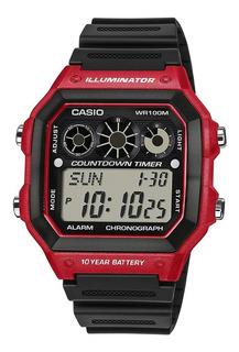 Reloj Hombre Casio Ae-1300wh-4a Rojo Digital / Lhua Store