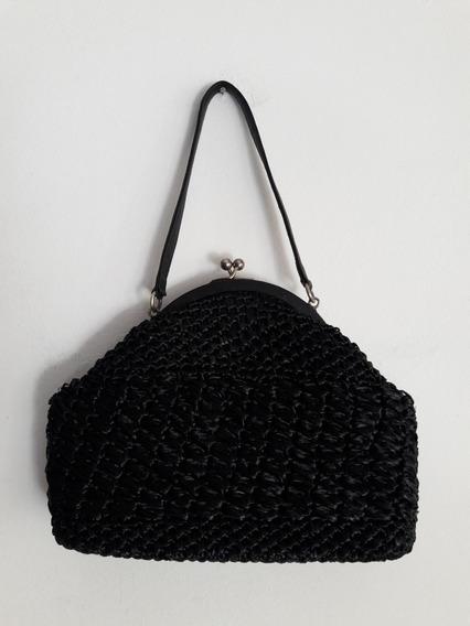 Cartera Vintage De Mano Color Negro De Rafia