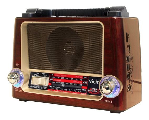 Rádio Retro Fm Recarregável Bivolt Lanterna Aux Usb Tf