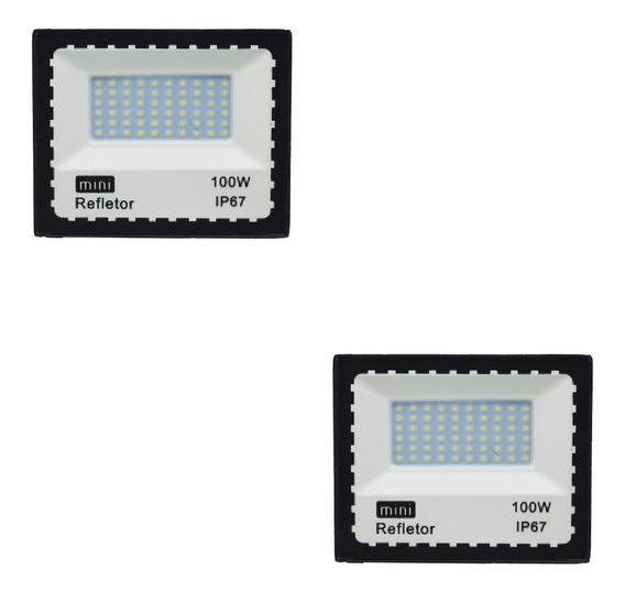 Kit 2 Refletor Led 100w Branco Holofote Bivolt Prova D