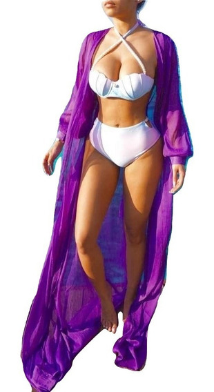 Salida De Playa Larga Mujer Vestido Abierto Pareo Cover Up Elegante