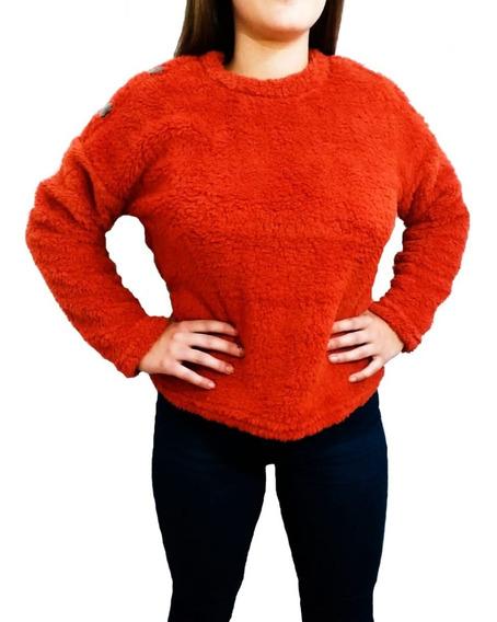 Buzo Sweater Abrigado Peluche Invierno Con Boton Mujer