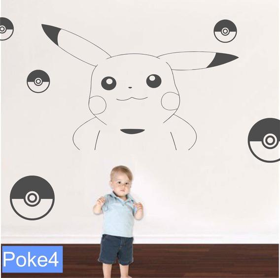 Vinilo Para Pared Pokemon Pikachu Nene Regalo Decoración