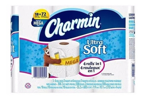 Papel Higienico Doble Hoja Charmin Ultra Soft 18 Rollos