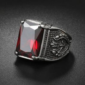 Anel Com Pedra Vermelha Grande Masculino Aço Inox Zircônia