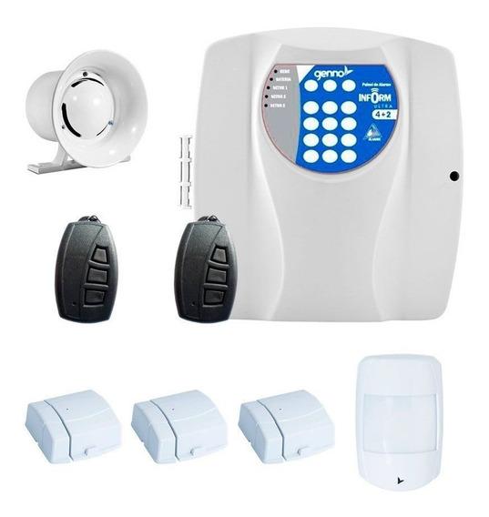 Kit Alarme Residencial 4 Sensor Genno Nice Controles Remoto