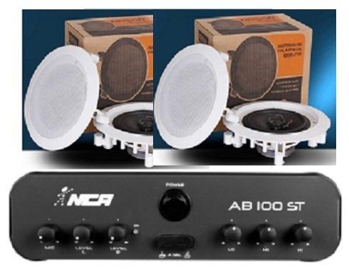 Amplificador Ab100bt St Nca (bluetooth) + 2 Pr Caixa Dr500