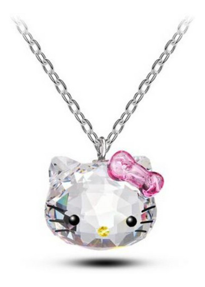 Bellisimo !! Original Collar Dije Hello Kitty Swarovski Amor