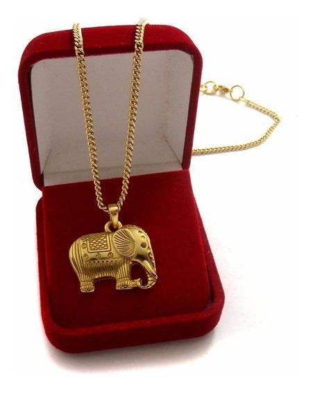 Colar Pingente Elefante Indiano Detalhado Amuleto Banhado