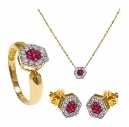 Conjunto Anel+pingente+brincos Ouro Amarelo Rubis+diamantes