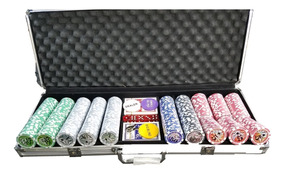 Kit Maleta Poker 500 Fichas Star Las Vegas Cassino Luxo Top