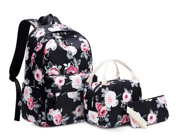 Mochila Notebook Flor Com Bolsa Necessarie