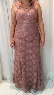 Vestido Sereia Rosê Tule Pedraria