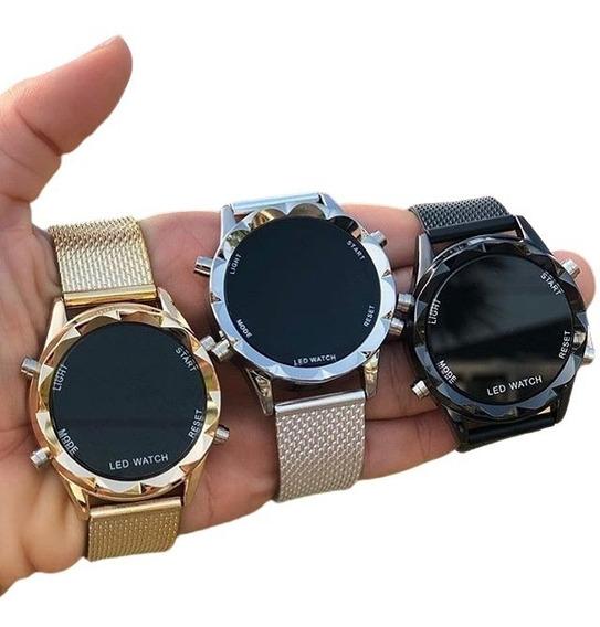 Kit 10 Relógio Feminino Led Strass Luxo Atacado Revenda