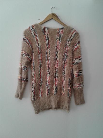 Sweater Tejido Con Dos Tipos De Lanas