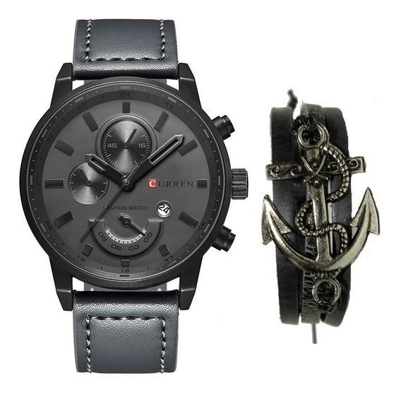 Relógio Masculino Original Curren Couro Aço Inox + Pulseira