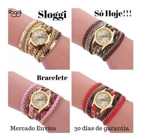 10 Relógio Feminino Dourado Bracelete Pulseira Couro Barato