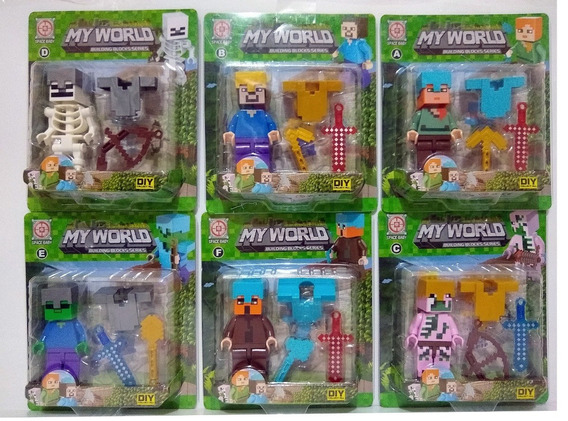 Boneco Minecraft Kit Com 6 Modelos Diferentes Bonecos Legos