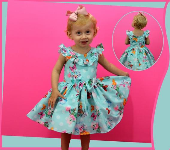 Vestido Festa Infantil Menina Estampado Borboleta Formatura
