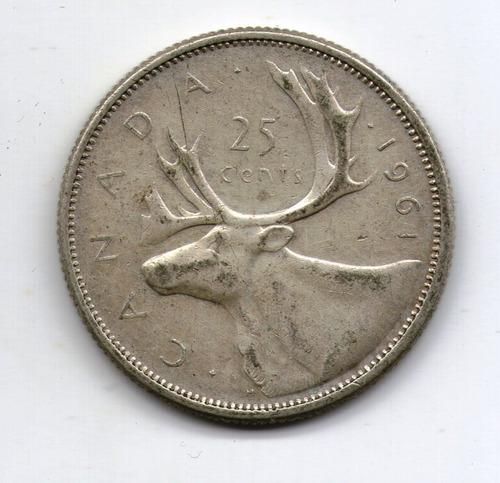 Canada Moneda De Plata 25 Cents 1961 - Km#52 - Argentvs
