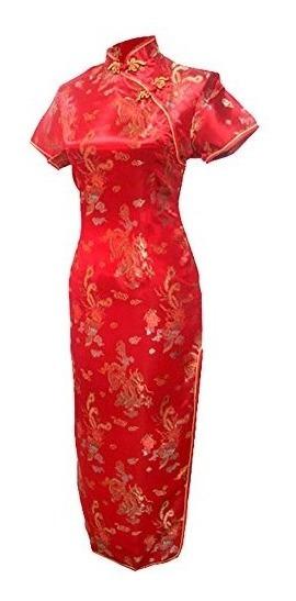 7 Vestido De Noche De Novia Chino Largo Vtg Red Long Chinese