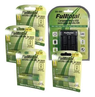Combo Cargador + 4 Baterias Fulltotal Recarg. 18650 Vapeador