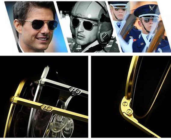Óculos De Sol Aviator 52mm Estilo Militar Aviador