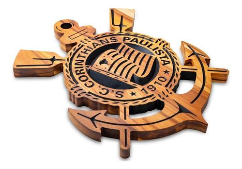 Imagem 1 de 7 de Simbolo Do Corinthians Entalhado Em Madeira Maciça  20x25cm