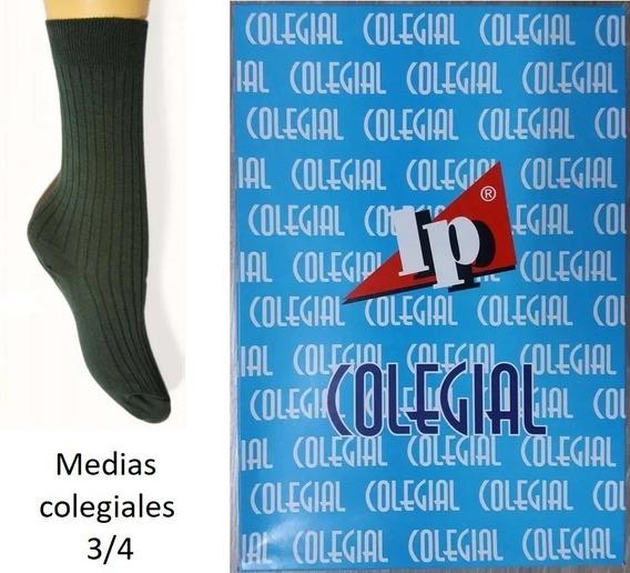 Pack X2 Medias Colegiales 3/4 Verde Talle 4