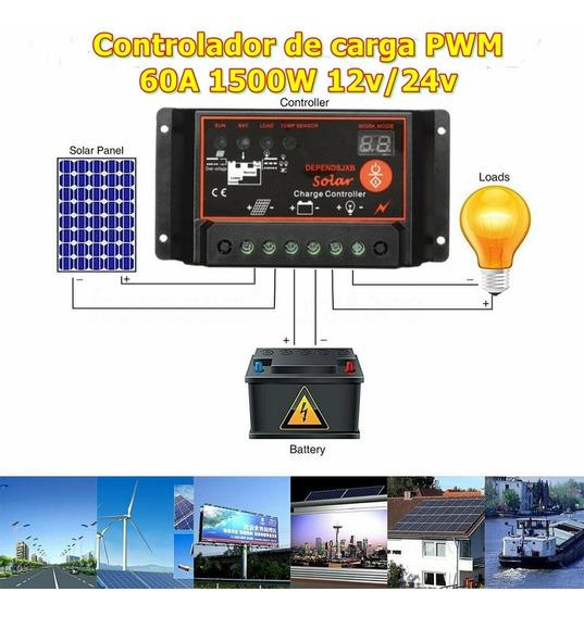 Controlador De Carga Pwm 60a Painel Solar 12v 24v Usb 1500w