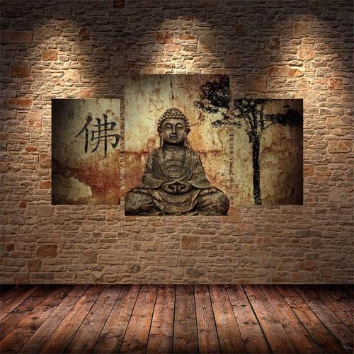 Mural Cuadro Triptico 70x40 Buda 3
