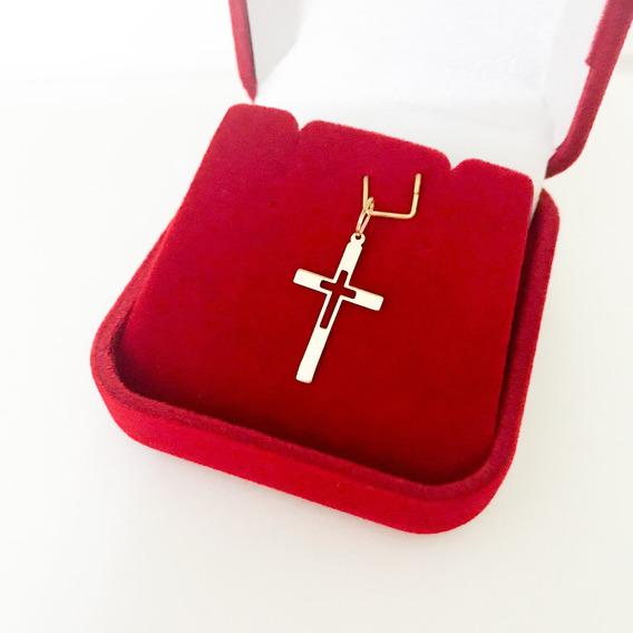 Pingente Cruz Crucifixo Vazado Laminado Ouro 18k Maciço