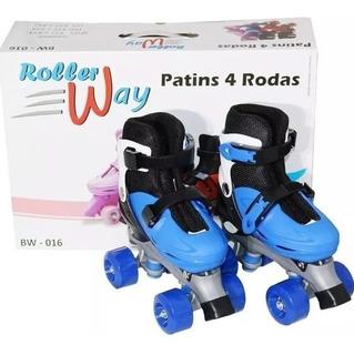 Patins 4 Rodas Roller Azul G 39 A 42 Ajustável Inmetro Bw016