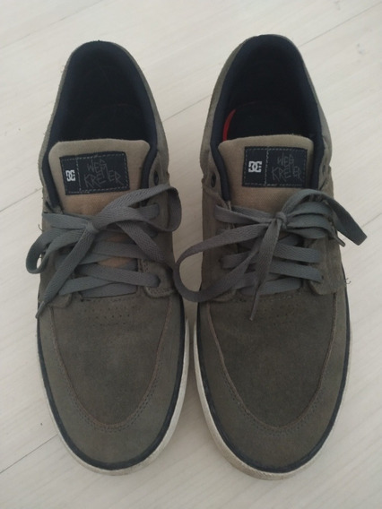 Tênis Dc Shoes Wes Kremer, Verde Oliva Sem Detalhes.
