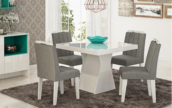 Mesa De Jantar 4 Cadeiras Estofadas Vidro